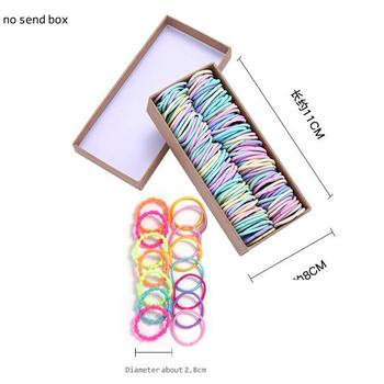 200PCS/Set Girls Candy Colors Nylon Elastic Hair Bands Children Rubber Band Headband Scrunchie Fashion Hair Accessories 2