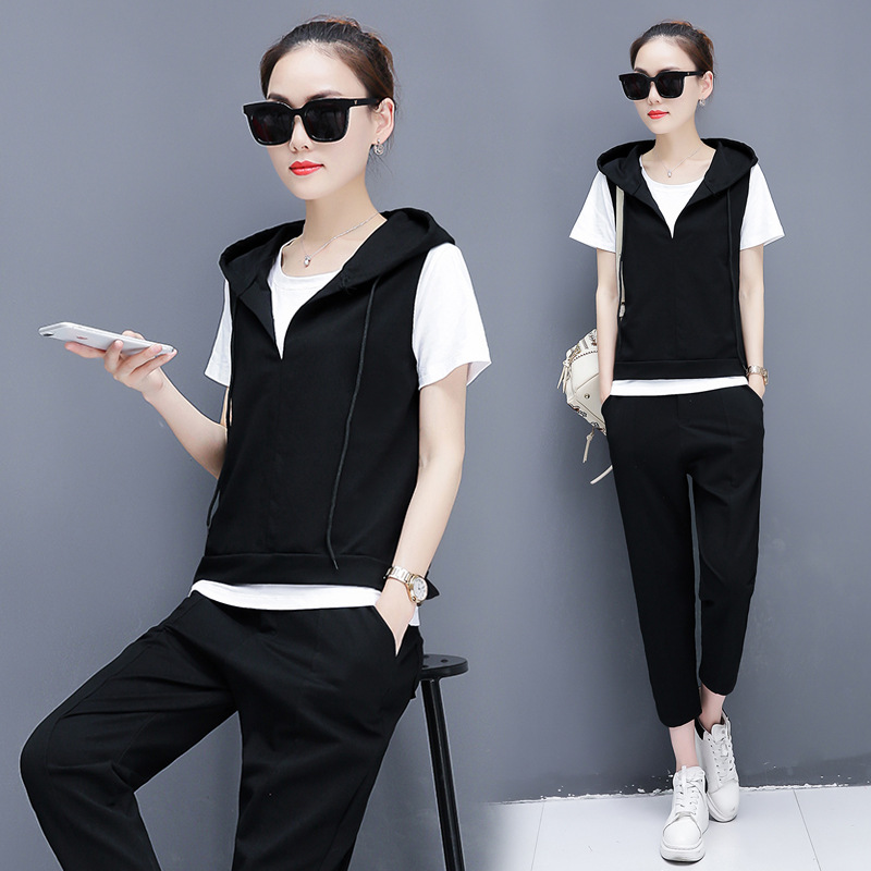 Wholesale WOMEN'S Suit 2018 Summer New Style Korean-style Loose Fashion Casual Sports Three-piece Set WOMEN'S Dress A Generation
