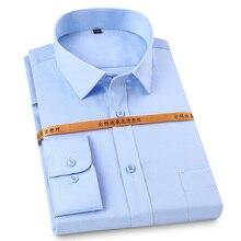 Dress Shirts Pocket Long-Sleeve Classic Standard-Fit Formal Men's Fashion 100%Cotton