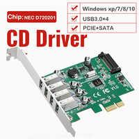 Tarjeta de expansión PCI-E de 4 puertos a USB 3,0, HUB Pcie USB 3,0, velocidad de 5 Gbps, adaptador de Control exprés Pci, compatible con potencia WIN10/8/7/xp/SATA