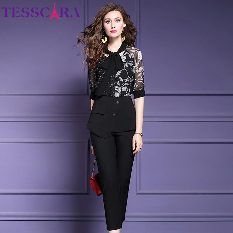 Женский офисный костюм TESSCARA, элегантный комплект из двух предметов, шифоновая блузка с принтом, костюм из двух предметов на весну и лето|Спортивные костюмы|   | АлиЭкспресс