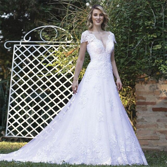 Фото vestido de noiva свадебные платья принцессы для невесты с рукавами