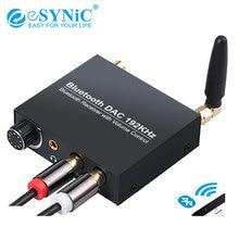 ESYNiC 192kHz Bluetooth dijital Analog ses DAC dönüştürücü adaptör ses kontrolü ile RCA 3.5mm Jack çıkışı tablet telefon