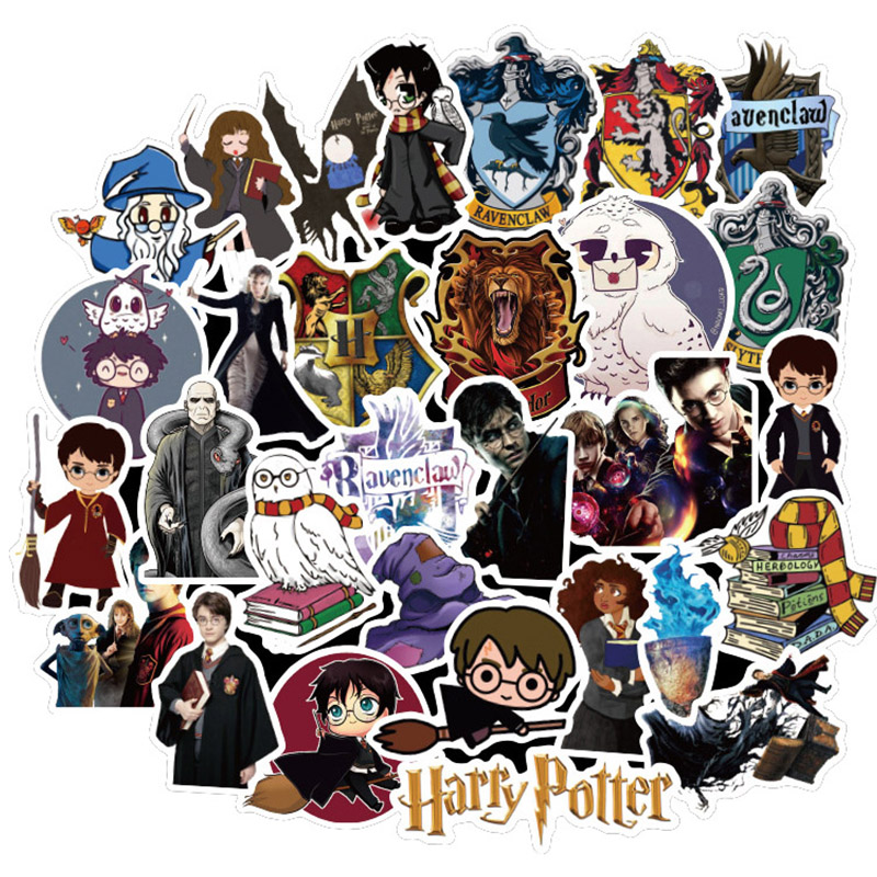 50 Pcs Cartoon Harry Sticker Pottering For Laptop Guitar Motocycle Luggage Skateboard Doodle Sticker Toy