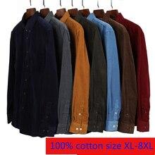 Nouveauté Super grand velours côtelé jeunes hommes coton plaine à manches longues chemises décontractées de haute qualité grande taille XL2XL3XL4XL5XL6XL7XL8XL