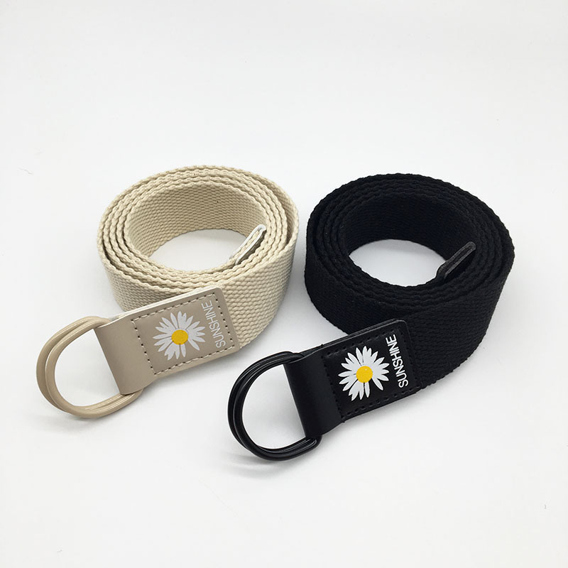 Adjustable Canvas Belt Unisex Korean Style Belts Little Daisy Print Fashion Aesthetic Students Girls Women Belt 2020 Sunflower