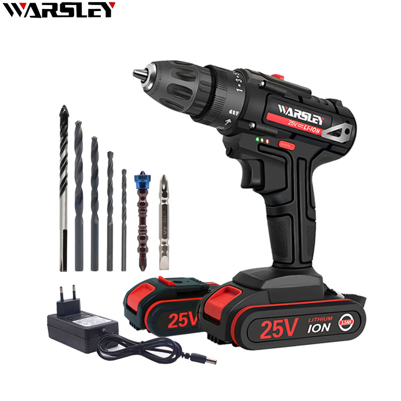 <font><b>25V</b></font> Electric Drill Double Speed Lithium Cordless Drill Household Multi-function Electric Screwdriver Power Tools+7Accessories image