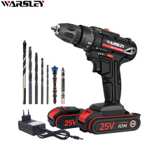 цена на 25V Electric Drill Double Speed Lithium Cordless Drill Household Multi-function Electric Screwdriver Power Tools+7Accessories