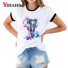 Women T Shirts Painted Elephant 3D Print Animal Graphic Tees Summer Short Sleeve Casual White T-Shirt Unisex Tops