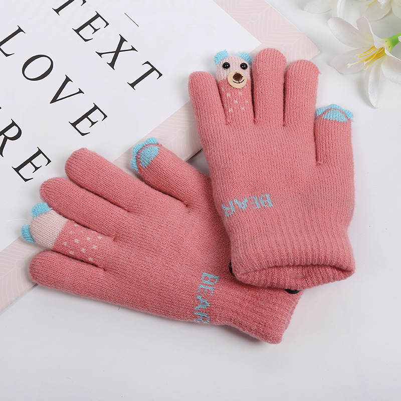 For 5-12-year Kid Cartoon Fingertips Bear Double Layer Gloves Lovely Creative Girl Warm Gloves