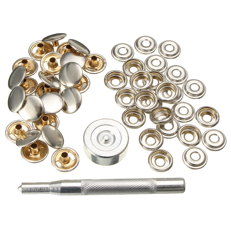 Stainless Silver Steel Tent Cloth Boat Snap Button Socket Tool Accessory 52Pcs