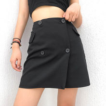 Black Mini Short Suit Skirts Women Buttons Office Ladies Formal Streetwear Bottoms Skirts(China)