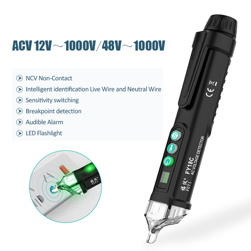 Intelligent Non Contact AC Voltage Detector Pen Tester Pen Digital 12-1000V AC Voltage Tester Detectors Electric Tester Meter