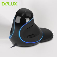 Delux M618Plus Vertical Gaming Mouse Optical Ergonomic Wired Computer Mause With 1.6M USB Cable 6 Buttons PC Office Gamer Mouse