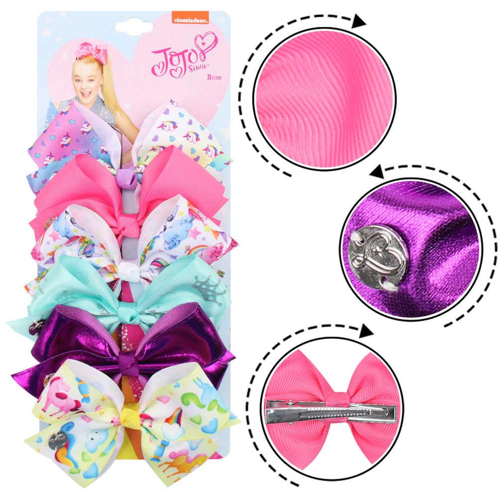 6 unids/set Jojo Siwa lazos de JOJO estampado de arco iris lazo de lazo para niñas hecho a mano Boutique Clip de pelo Niños Accesorios para el cabello