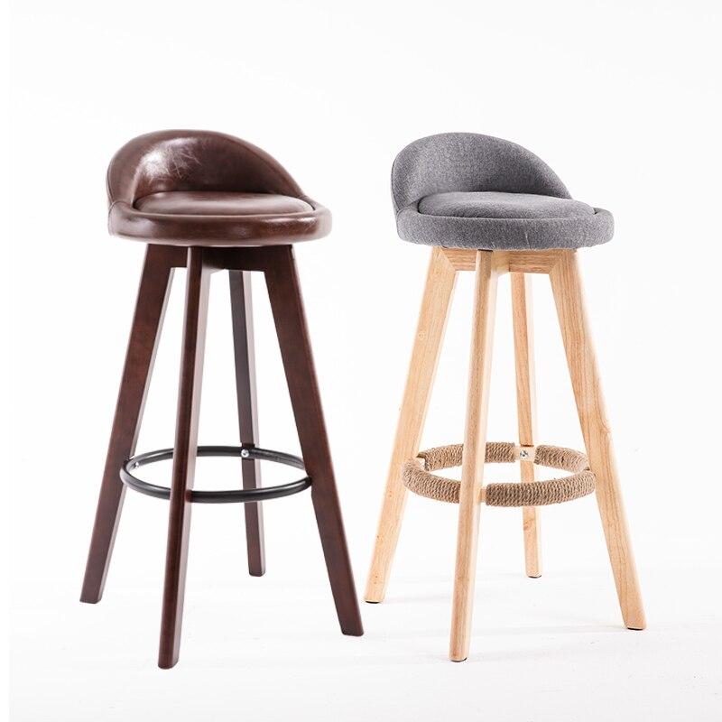 Bar Chair, Solid Wood Bar Chair, Front Desk Chair, Modern Simple Milk Tea Shop, High Stool, Household Rotary Creative Bar Chair