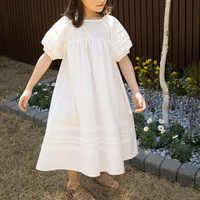Vestido informal de cuello redondo para niñas, tutú de moda blanco nuevo, ropa holgada y acogedora de verano, 2021