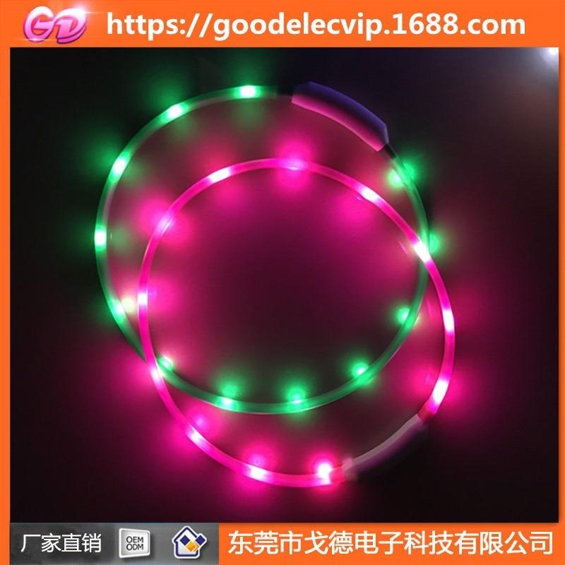 USB Rechargeable 180 Miliamps LED Pet Collar Silica Gel Luminous Collar Shiny Dog Collar-Self-Tailoring