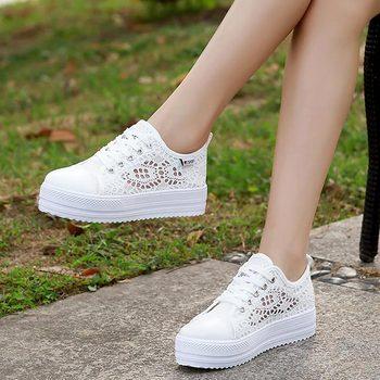 Women shoes cutouts lace canvas hollow breathable platform flat shoes woman sneakers 2019 fashion summer casual ladies shoes