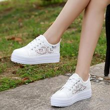 Women shoes cutouts lace canvas hollow breathable platform flat shoes woman sneakers 2019 fashion summer casual ladies shoes цена