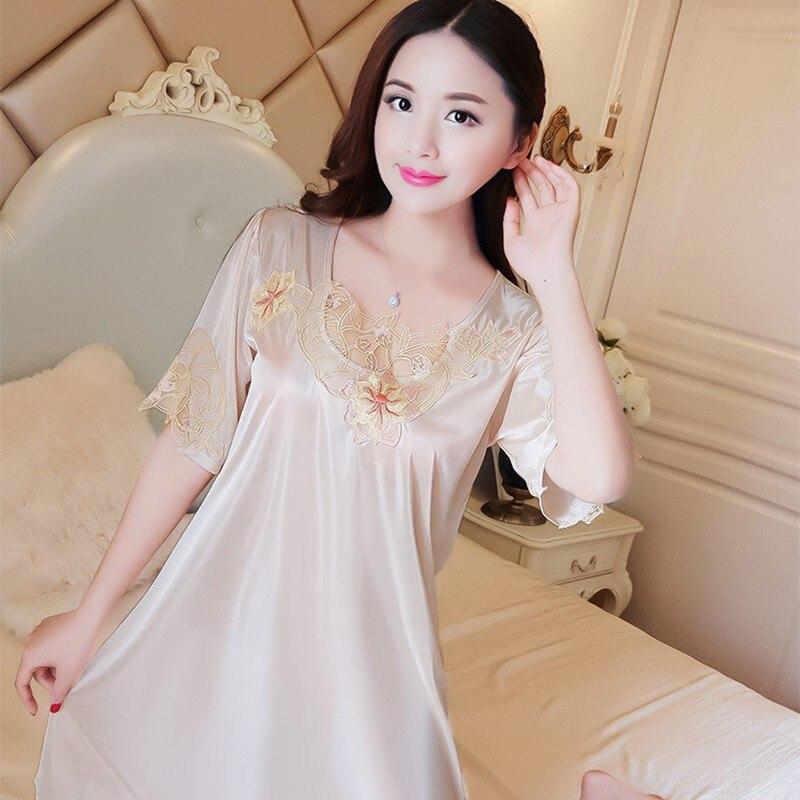 Women's Thin Sexy Nightgown Short Sleeve Nightdress Lingerie Lace Sleepwear Homewear