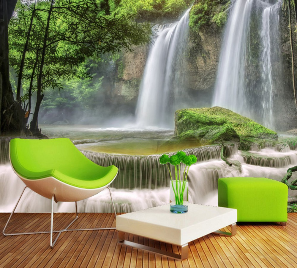 Drop Shipping 3D Custom Living Room Wallpaper Beautiful Fresh Landscape Water Waterfall TV Background Wall Conference Room Mural