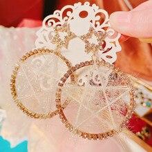 MENGJIQIAO gran oferta invierno elegante pelusa hueca aretes colgantes de estrella para mujeres de moda Círculo de Diamante de imitación, Pendientes de botón Pendientes de joyería
