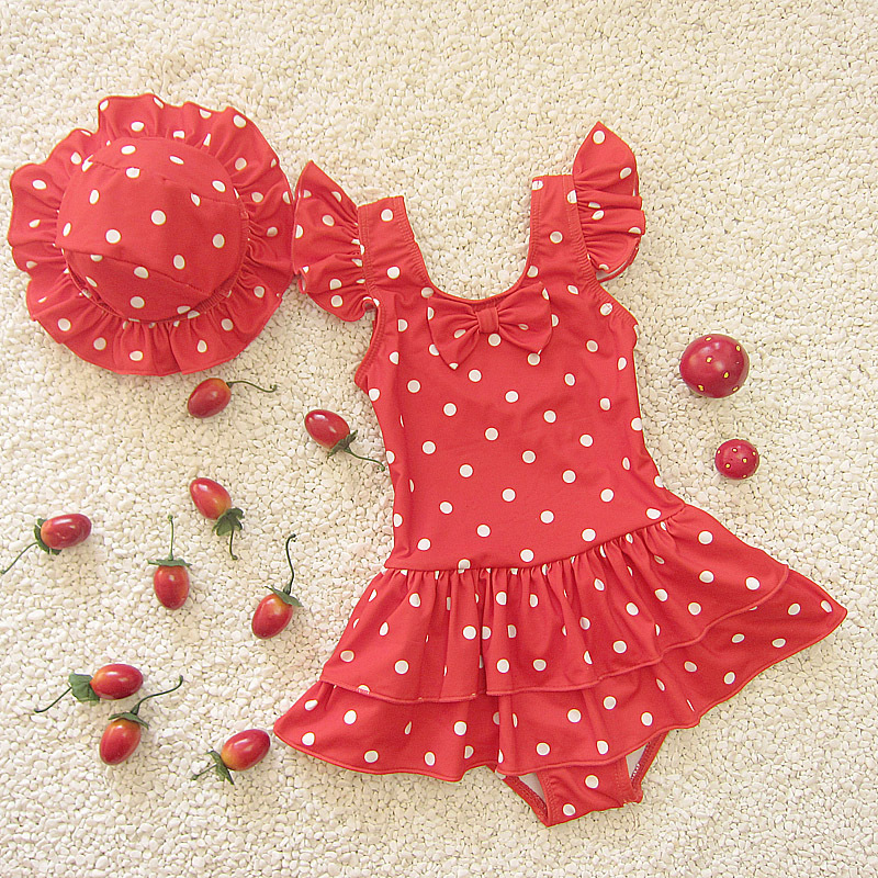 Infants Korean-style Cute Sweet Polka Dot Large Children One-piece Triangular Cake Layer Skirt Baby Girls Swimsuit