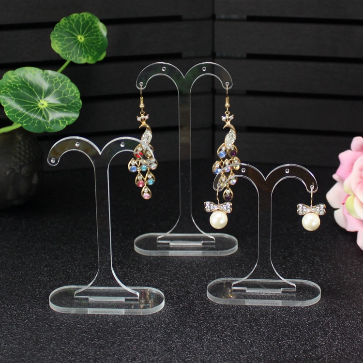 Acrylic Clear Earring Hanging Holder T Earring Display Stand Jewelry Organizer Case Earring Showing Shelf High Quality