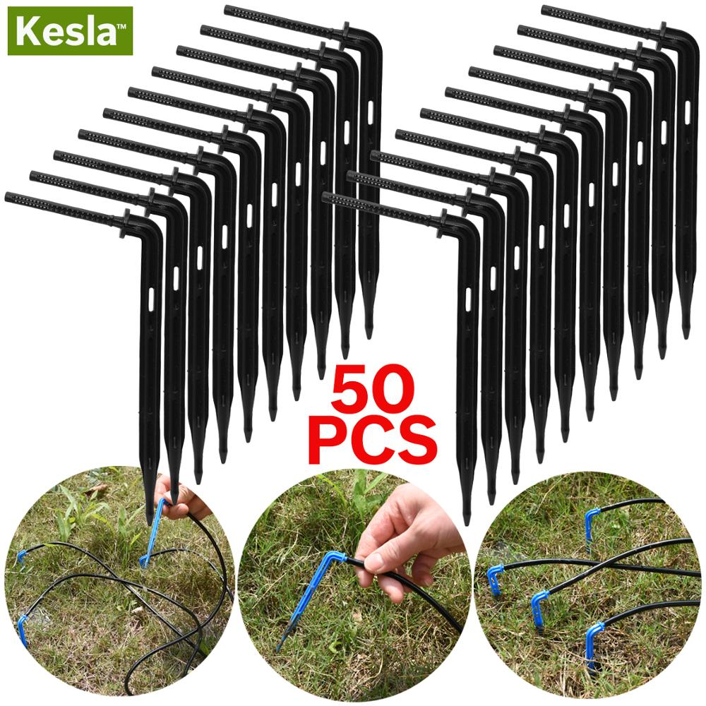 KESLA 50PCS Bend Arrow Dripper Micro Drip Irrigation Kit Emitters For 3/5mm Hose Garden Watering Saving Micro Dripper Greenhouse