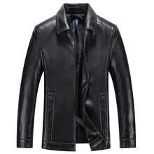 Весенне-осенняя Качественная мужская куртка из натуральной кожи, деловая Повседневная куртка из овечьей кожи с отложным воротником, Черная Мужская Байкерская кожаная куртка 8866