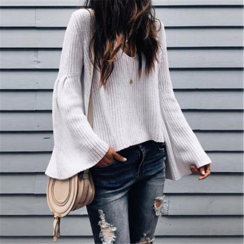 Women's Sweater Women Long Sleeve Sweater Flared Sleeve Pullover Jumper Solid Ladies Sweaters Vintage Womens Pullovers