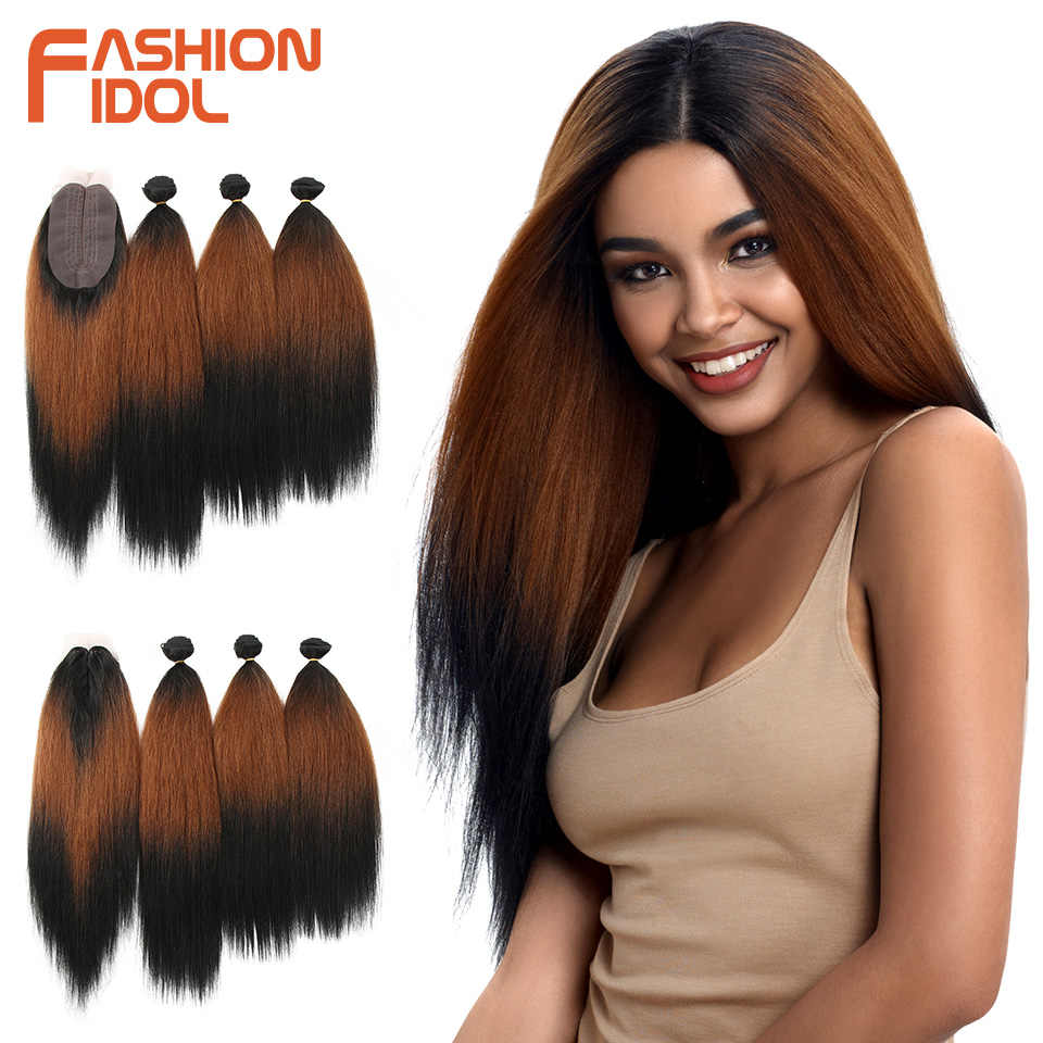 FASHION IDOL 18-22 Inch Yaki Straight Hair Bundles 6 Inch Lace Front With Closure Weave Hair Ombre Brown Golden Hair Extension