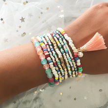 Fashion Bohemian Lady Exquisite Bracelet Colorful Beaded Rope Chain Tassel Beach Hot Sale Natural Handmade