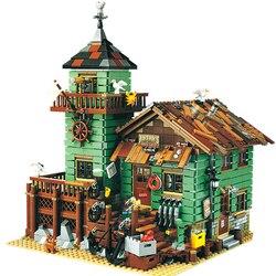 Lepinblocks, 16050, старый Рыболовный магазин, серия MOC, совместим с LEGOin 21310, набор строительных блоков, кирпичи, развивающие, для детей, на день рожден...