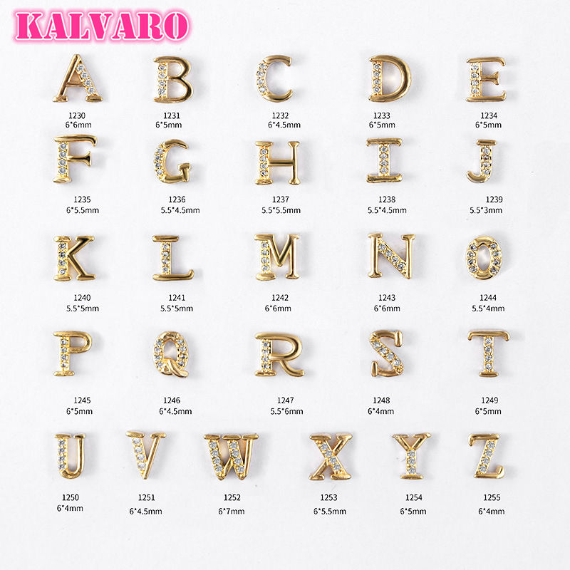 Kalvaro 26 English Letters Metal Zircon Nail Art Decoration Alloy Crystal Rhinestones Jewelry Manicure Accessories Nail Art DIY