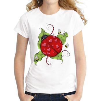 2018 Yaz Moda Aşk Bug Tasarım Kadın kısa kollu t-shirt Uğur Böceği baskılı tişört Sevimli kadın bluzları