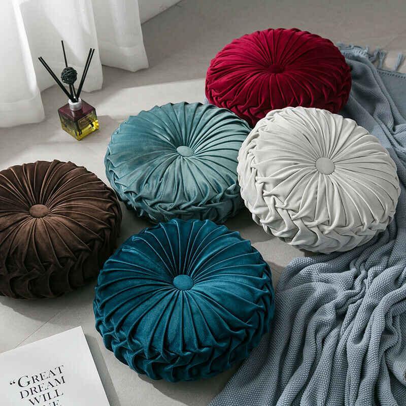 Moda terciopelo plisado piso redondo cojín almohada PUF suave cómodo tiro sofá hogar Decoración