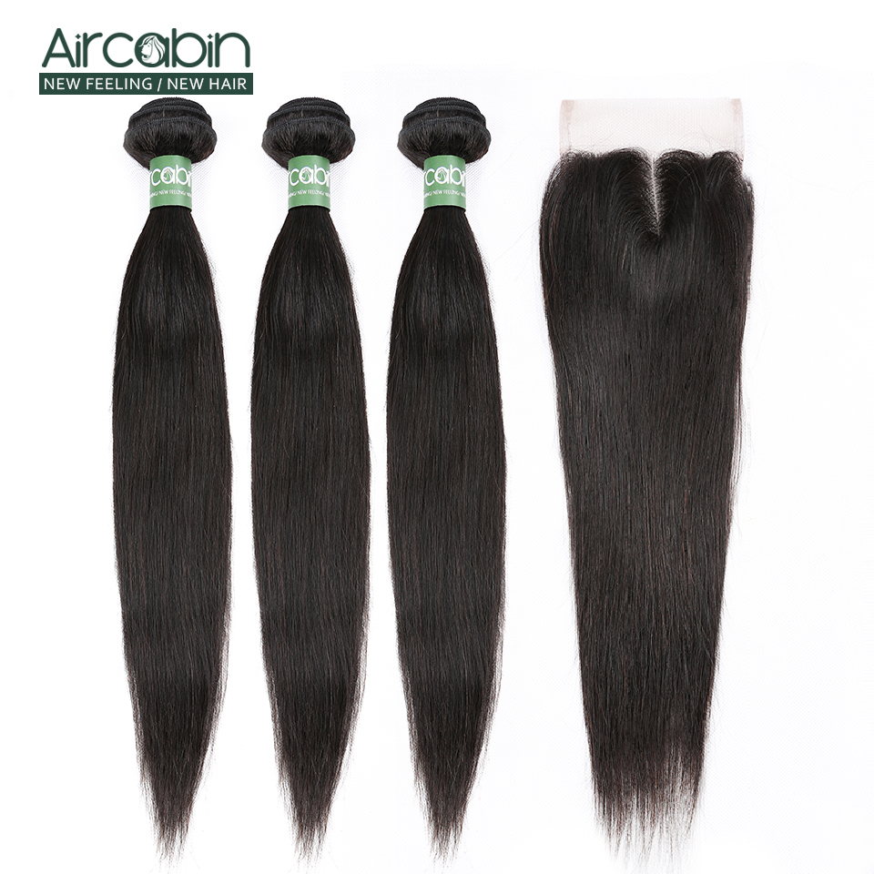 Aircabin Straight Hair Bundles With Closure Remy Indian Hair Weave Bundles And Lace Closure Extensions Natural Black