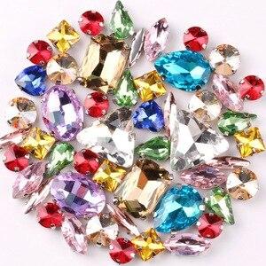 Image 3 - Zilveren Klauw Instellingen 50 Stks/zak Vormen Mix Jelly Snoep Kleuren Mix Glas Kristal Naaien Op Strass Trouwjurk Schoenen Tassen diy