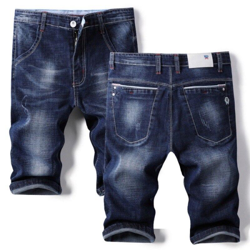 Summer Thin Section Denim Shorts Men's 5 Shorts Bermuda Shorts Men Men's Fashion Loose-Fit Small Business Elasticity Shorts