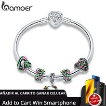 BAMOER pulsera de plata de primera ley con forma de flor para mujer, brazalete, plata esterlina 925 Plata de Ley auténtica, esmalte colorido, SCB804