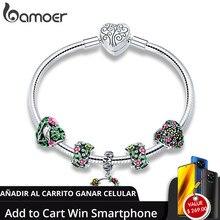 Bamoer リアル 925 スターリングシルバー春の花カラフルなエナメルチャームブレスレット & バングル女性のためのスターリングシルバージュエリー SCB804