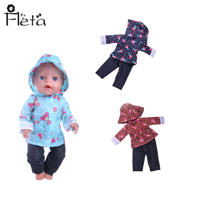 Doll Raincoat=Hat+Clothes&Cute Umbrella&Rain Boots Fit 18 Inch American&43 Cm Born Baby Our Generation Christmas Girl's Toy Gift(China)