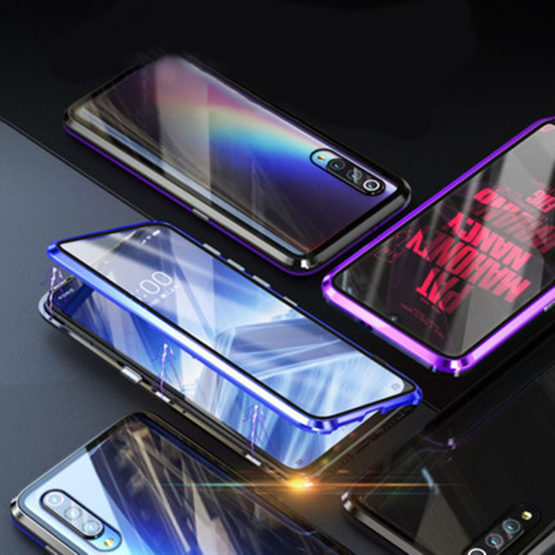 Magnetic Metal <font><b>Case</b></font> For Xiaomi Redmi Note 8 7 10 K20 Pro 8 8A Tempered Glass Phone Cover For Xiaomi <font><b>Mi</b></font> 8 <font><b>9</b></font> <font><b>SE</b></font> CC9 E 9T Pro <font><b>Case</b></font> image