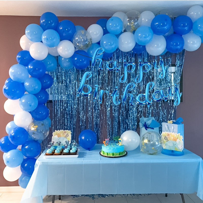 WEIGAO Blue Theme Happy Birthday Decorations Letter Foil Balloons Garlands  Arch Balloon for Boy First Birthday Baby Shower Decor