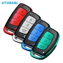 TPU Leather Car Key Case Smart Remote Control Fob Protector Cover For Hyundai IX25 IX35 Avante Verna Reina Mistra 2014 2015 2016
