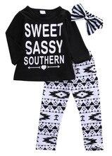 3pcs Baby Girls Romper Top+Floral Pants Outfits Newborn Kids Cotton Clothes Sets