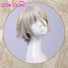 DokiDoki Game Fate Cosplay Wig Fate/Grand Order LanLin Wang Wigs Men Short Grey Hair