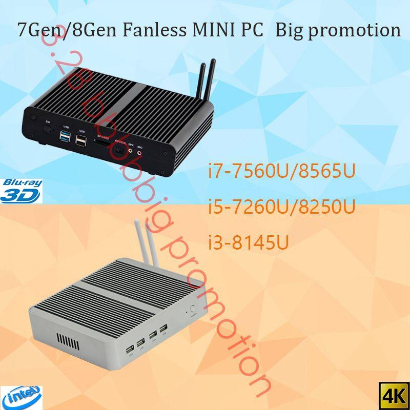 Big Promotion Intel Core 7Gen/8Gen Fanless Mini PC NVME M.2 SSD DP 4K 60GHz Optical Port 2*lan Iris Plus Graphics 640 DDR4